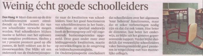 Weinig écht goede schoolleiders